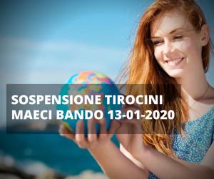 SOSPENSIONE TIROCINI MAECI BANDO 13-01-2020